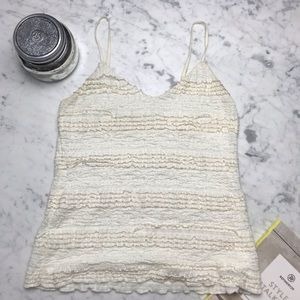 Banana Republic Metallic Trim Lace Ruffle Tank Top